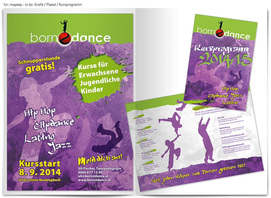 für: born2dance/Auftraggeber: mayway - to do: Grafik Plakat, Kursprogramm